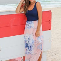 Navy and Peach Floral Maxi Dress