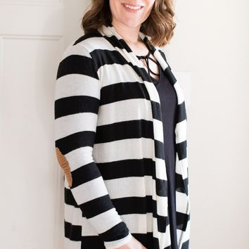 Ivory and Black Stripe Cardigan with Elbow Patches