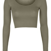 Raw Edge Scoop Crop - Tops - Clothing