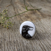 Animal ring Raven Crow Portrait, black and white, original hand painting jewelry, for birds crows lovers, birds silvertone woodland jewelry