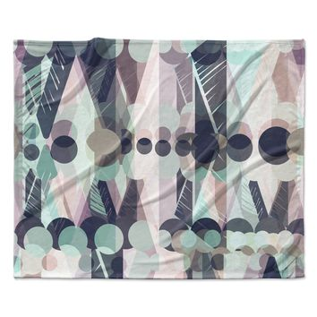 "Victoria Krupp ""Chunky Geo"" Multicolor Pastel Vector Fleece Throw Blanket"