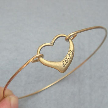 Love Heart Bangle Bracelet Style 2 by turquoisecity on Etsy