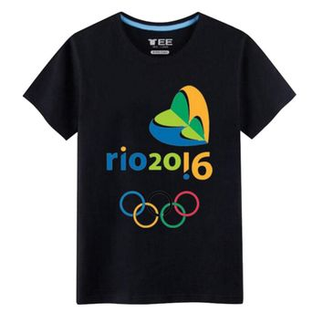 Rio 2016 Olympic Games Round Neck Tee Commemorative T-Shirt -XL Black
