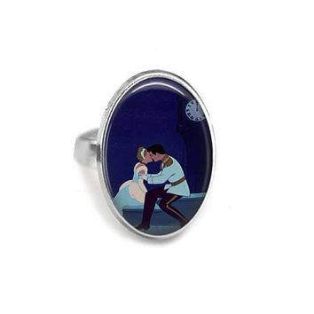 Cinderella Kisses The Prince Adjustable Ring