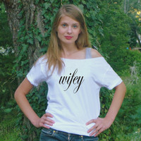 Wifey off the shoulder Top bride white shirt Glitter Red or Black Writing HONEYMOON clothing Wedding tops