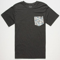 Lost Acid Aloha Mens Pocket Tee Charcoal  In Sizes