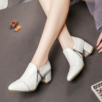 Pointed Toe Zipper Women Chunky Heel Pumps 2934