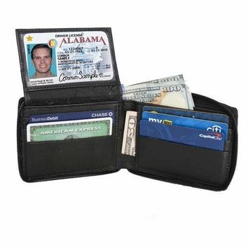 AFONiE Flip ID Zipped Soft Leather Bifold Wallet