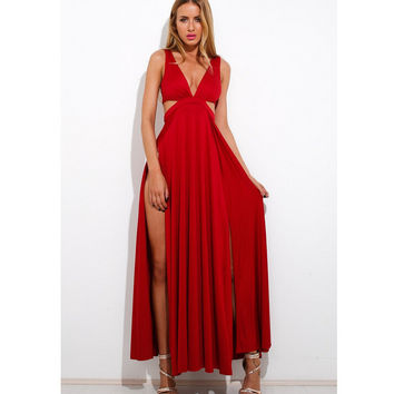 Deep V Split Sexy Prom Dress [4919727748]