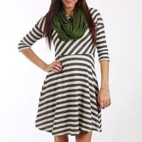 Striped Flare Dress, Charcoal