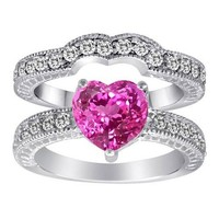 Star K 8mm Heart Shape Created Pink Sapphire Wedding Set
