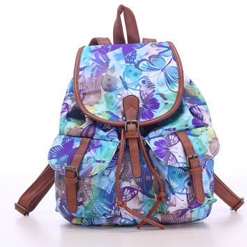 Blue Butterfly Travel Bag Canvas Lightweight College Backpack