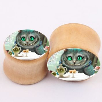 1pair Lovely Cat Logo flesh tunnels ear plugs big gauge piercing ear expanders 6~16mm Piercing Body Jewelry