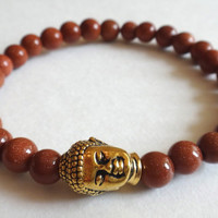Brown Goldstone Beaded Bracelet with Gold Buddha