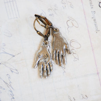 Silver HAND EARRINGS Frida Kahlo Charms Whimsical Palmistry Fortune Teller Jewelry Horror Macabre Costume Jewelry