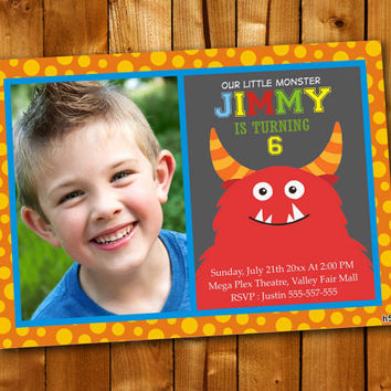 Monster Polka Dot, Birthday Invitation, Birthday Party for little boy and little girl