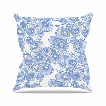 "Gill Eggleston ""Fenella Floral"" Blue White Throw Pillow"