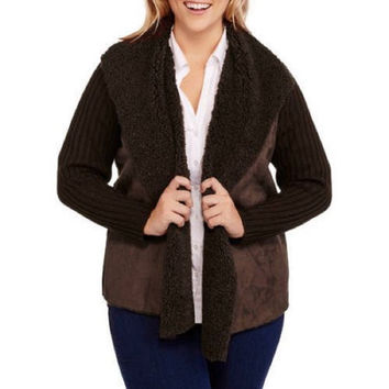 Faded Glory Women's Faux Sherpa Rib Back Sweater Jacket, Warm Fudge, 4X
