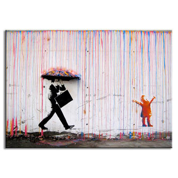 Banksy Art Colorful Man in the Rain wall canvas wall art living room wall decor