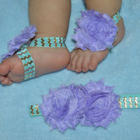 Purple Shabby Chic Headband and Sandal Set