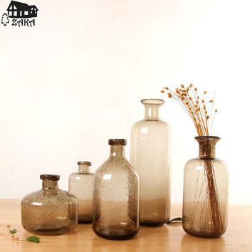 New arrival Zakka Nordic marine style brown bubble glass vases Hand-blown flower vases bedroom table vase Simple Home Decoration