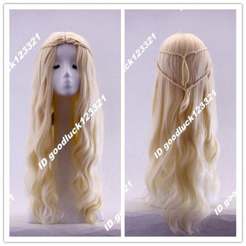 Free Shipping Game of Thrones Daenerys Targaryen Blonde Fluffy Long Synthetic Cosplay Wig+a wig cap
