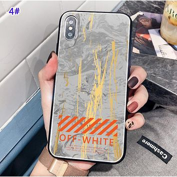 Off White New fashion letter marble print  protective cover phone case 4#