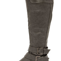 Soda Doric Grey Knee-High Riding Boots
