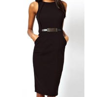 Wholesale Slit Back Design Sleeveless Round Collar Belt Embellished Ankle-Length Dress For Women (BLACK,XL), Bodycon Dresses - Rosewholesale.com