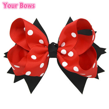 1PC 5 Inches Big Polka Dots Hair Bows Navy Blue Red Toddler Stacked Boutique Baby Bows Hair Clips For Girls Hair Accessories