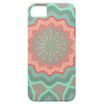 Iphone 5 case - Mint iPhone 5 Case Quilted Flower
