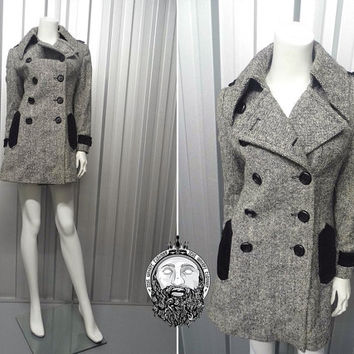 Vintage 60s Grey Tweed Mod Coat Double Breasted Wool Jacket Black Velvet Trim Dagger Collar Mark Russell 1960's Coat Fitted Coat Trenchcoat