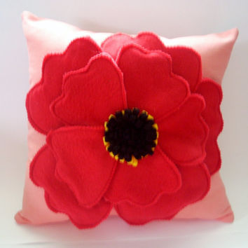 Red poppy pillow, flower pillow,poppy pillow,home decor,throw pillow,accent pillow, red on coral pillow,