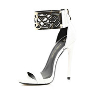 White metal cuff barely there sandals - heels - shoes / boots - women