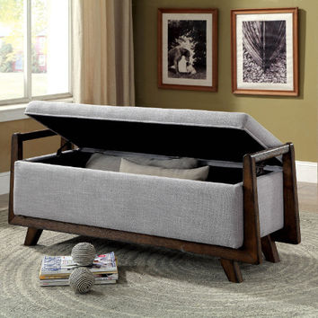 Furniture of america CM-BN6069LG Finn light gray linen like fabric ottoman storage bench