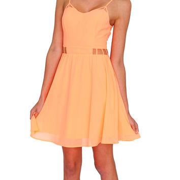 Scent Of Summer Chiffon Dress - Neon Orange