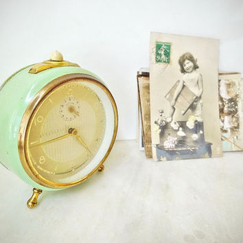 Vintage Alarm Clock, Retro Shabby Chic West Germany Working Mint Table Clock