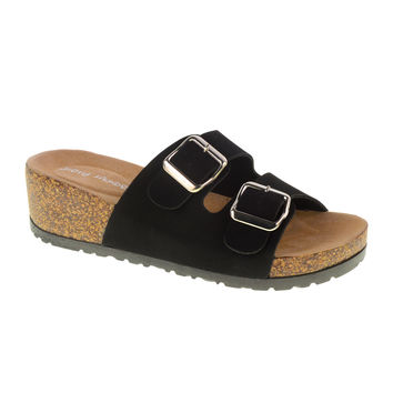 Tai Chi Footbed Sandal. Dual Strap in Black Faux Vegan Suede by Dirty Laundry. Size 8