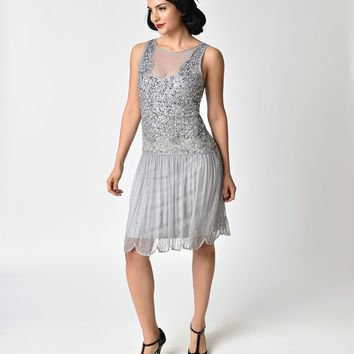 1920s Style Lilac Beaded Drop Waist Elaina Flapper Dress