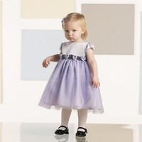 Lovely Lavender Square Neckline Short Sleeves Flower Girl Dress-SinoSpecial.com