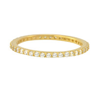 Sterling Silver Cubic Zirconia Ring Stackable Yellow Gold Plated - 1.5mm Wide