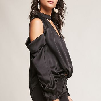 Satin Surplice Open-Shoulder Top