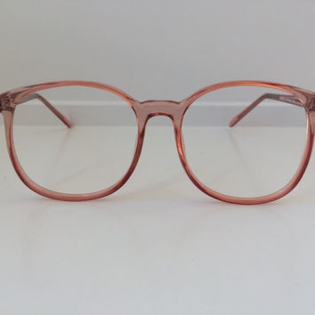 Vintage Pink Eyeglass Frames - Oversized Eyeglasses - Peach Coral Salmon Clear Glasses - Round Hipster Cat Eye Clear Lens Deadstock NOS 78