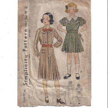 1930s Vintage Simplicity 1851 Pattern for Girls' Dress, 2 Styles, Size 10, Instructions, NON Printed, Vintage Pattern, Home Sewing Pattern