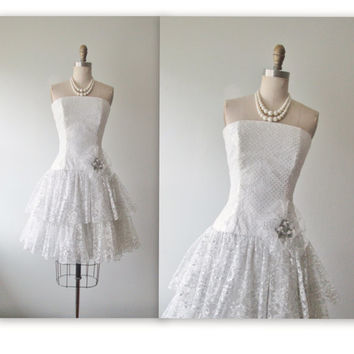 80's Prom Dress // Vintage 1980's Strapless White Silver Lace Cocktail Party Prom Wedding Dress XS
