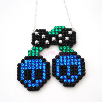 Sparkly Psychobilly Skull Cherries Necklace - Sapphire Blue Emerald Green & Black or Custom Colours - Rockabilly Skeleton Cherry Pendant