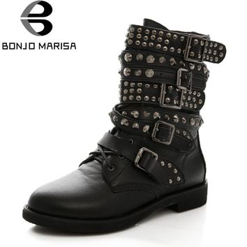 BONJOMARISA Plus Size 35-43 Women Cowboy Military Boots Punk Rivet Shoes Woman Two Kind Outside Combat Riding Motorcycle Boots