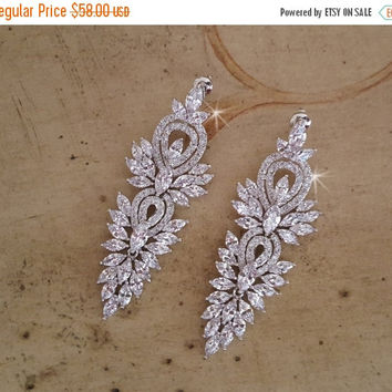 ON SALE Bridal Earrings. Pageant Earrings,   CZ Chandelier Earrings,  Long Dangle Wedding Earrings, Art Deco, Statement Earrings