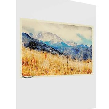 Pikes Peak Mountains Watercolor Gloss Poster Print Portrait - Choose Size by TooLoud