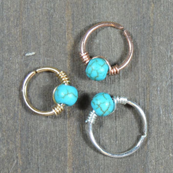 Helix piercing cartilage piercing helix ring hoop cartilage ring turquoise helix ring turquoise piercing cartilage piercing 22 20 18 gauge